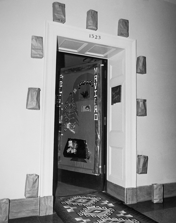 Office doorway decorated with Christmas decoration during Christmas. (Photo by CQ Roll Call via Getty Images)