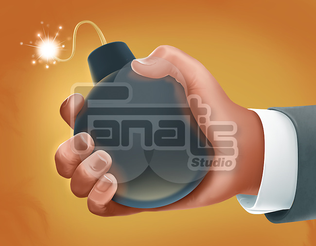 Illustrative image of hand holding bomb representing business crisis