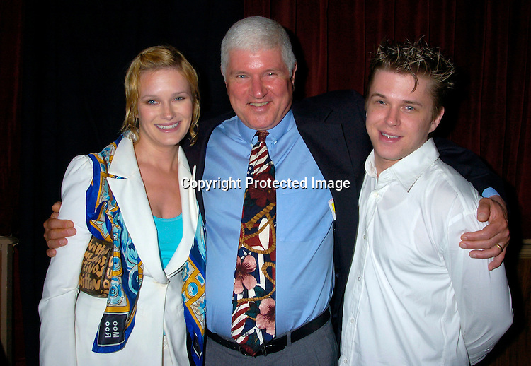 """David Tom and dad Charles Tom ..at The Broadway opening of """"Prymate"""" on May 5, 2004 ..starring Heather Tom, Phyllis Frelich, Andre De Shields and ..James Naughton at the Longacre Theatre in New YOrk City. ..Photo by Robin Platzer, Twin Images"""