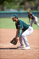 Oakland Athletics first baseman Alfonso Rivas (26) during an Instructional League game against the Los Angeles Dodgers at Camelback Ranch on October 4, 2018 in Glendale, Arizona. (Zachary Lucy/Four Seam Images)