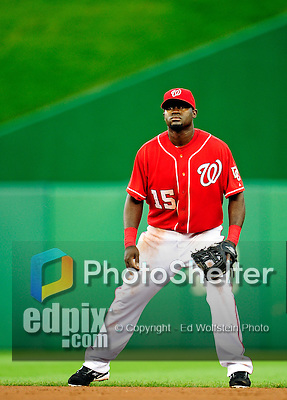 6 June 2010: Washington Nationals' second baseman Cristian Guzman in action against the Cincinnati Reds at Nationals Park in Washington, DC. The Reds edged out the Nationals 5-4 in a ten inning game. Mandatory Credit: Ed Wolfstein Photo