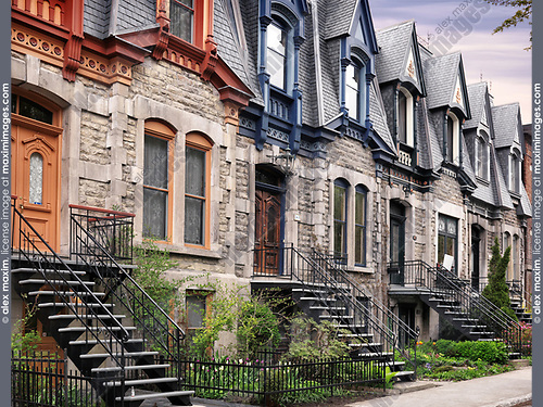 Row of old historic town houses with French style architecture on Avenue Laval in Montreal, Quebec, Canada. L'avenue Laval, Ville de Montréal, Québec, Canada. Spring 2017.