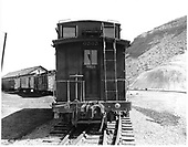 Front view of D&amp;RGW long caboose #0505 in Durango.<br /> D&amp;RGW  Durango, CO  Taken by Payne, Andy M. - 5/21/1970