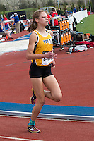 Erin Lee of York High School runs to victory in the 800-meters in 2:12.44 at the 2015 Kansas Relays.