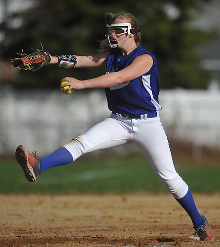 Alyssa Wienberg #48 of Division Avenue winds to the plate during a Nassau County Conference ABC-II varsity softball game against host Clarke High School on Thursday, April 26, 2018. Clarke won by a score of 4-2.