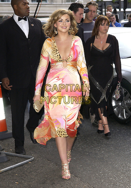 CHARLOTTE CHURCH.Attends the Glamour Women of the Year Awards 2005,.Berkeley Square, London, .June 7th 2005..full length pink leopard print patterned dress gold strappy shoes clutch bag.Ref: FIN.www.capitalpictures.com.sales@capitalpictures.com.©Steve Finn/Capital Pictures.