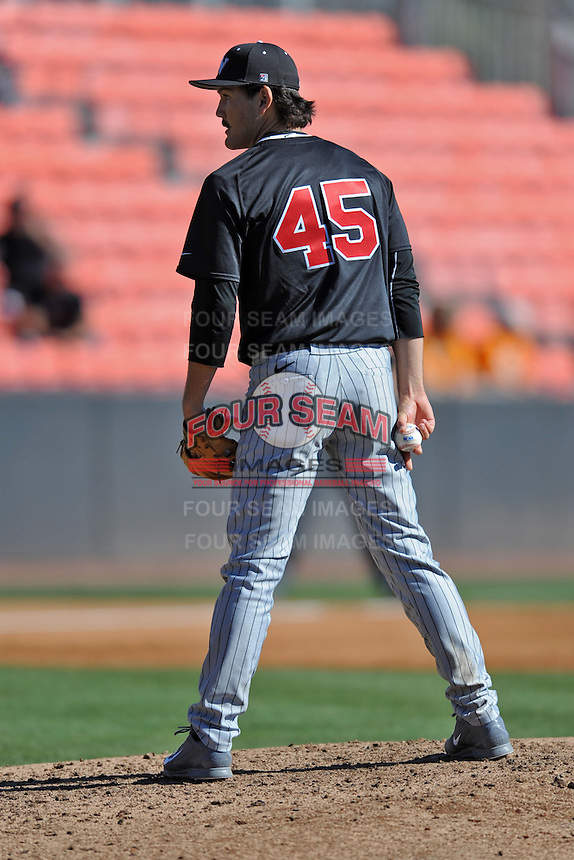 UNLV Runnin' Rebels starting pitcher John Richy #45 awaits the signals during a game against the Tennessee Volunteers at Lindsey Nelson Stadium on February 22, 2014 in Knoxville, Tennessee. The Volunteers defeated the Rebels 5-4. (Tony Farlow/Four Seam Images)
