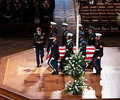 December 5, 2018 - Washington, DC, United States: A military casket team carries to casket of former President George W. Bush from the National Cathedral at the conclusion of his state funeral.  <br /> Credit: Chris Kleponis / Pool via CNP