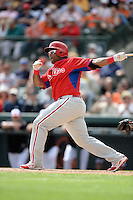 Philadelphia Phillies outfielder Marlon Byrd (3) during a spring training game against the Baltimore Orioles on March 7, 2014 at Ed Smith Stadium in Sarasota, Florida.  Baltimore defeated Philadelphia 15-4.  (Mike Janes/Four Seam Images)
