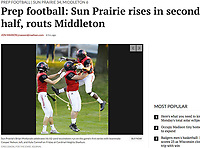 Sun Prairie's Brian McKenzie scores in the first series Friday night and celebrates with Cooper Nelson (11) and Kyle Connell (63), as Middleton takes on Sun Prairie in Big Eight Conference high school football at Cardinal Heights stadium on 8/25/17 in Sun Prairie, Wisconsin | Wisconsin State Journal article front page Sports 8/26/17 and online at http://host.madison.com/wsj/sports/high-school/football/prep-football-sun-prairie-rises-in-second-half-routs-middleton/article_51bb2c58-275c-547a-a6b4-75771b3d7490.html