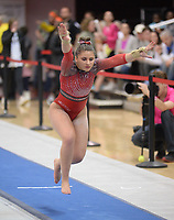 Arkansas' Kiara Gianfagna competes Friday, Feb. 7, 2020, in the vault portion of the Razorbacks' meet with Georgia in Barnhill Arena in Fayetteville. Visit  nwaonline.com/gymbacks/ for a gallery from the meet.<br /> (NWA Democrat-Gazette/Andy Shupe)