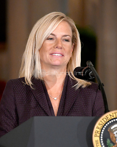 Principal Deputy White House Chief of Staff Kirstjen Nielsen makes remarks after United States President Donald J. Trump announced he will name her as Secretary of Homeland Security in the East Room of the White House in Washington, DC on Thursday, October 12, 2017.  If confirmed, Nielsen will replace Acting US Secretary of Homeland Security Elaine C. Duke, who has been in that position since General John F. Kelly, USMC (Retired) resigned to become White House Chief of Staff.<br /> Credit: Ron Sachs / CNP /MediaPunch