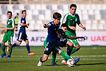 Osako Yuya of Japan (L) fights for the ball with Hojayev Resul of Turkmenistan during the AFC Asian Cup UAE 2019 Group F match between Japan (JPN) and Turkmenistan (TKM) at Al Nahyan Stadium on 09 January 2019 in Abu Dhabi, United Arab Emirates. Photo by Marcio Rodrigo Machado / Power Sport Images