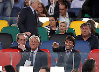 Calcio, finale Tim Cup: Milan vs Juventus. Roma, stadio Olimpico, 21 maggio 2016.<br /> Juventus' former coaches Marcello Lippi, left, and Antonio Conte sit on the stand during the Italian Cup final football match between AC Milan and Juventus at Rome's Olympic stadium, 21 May 2016.<br /> UPDATE IMAGES PRESS/Isabella Bonotto