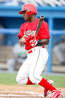July 1, 2009:  D'Marcus Ingram of the Batavia Muckdogs at bat during a game at Dwyer Stadium in Batavia, NY.  The Muckdogs are the NY-Penn League Short-Season Class-A affiliate of the St. Louis Cardinals.  Photo By Mike Janes/Four Seam Images