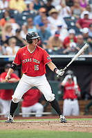 Texas Tech Red Raiders shortstop Josh Jung (16) at bat during Game 5 of the NCAA College World Series against the Arkansas Razorbacks on June 17, 2019 at TD Ameritrade Park in Omaha, Nebraska. Texas Tech defeated Arkansas 5-4. (Andrew Woolley/Four Seam Images)