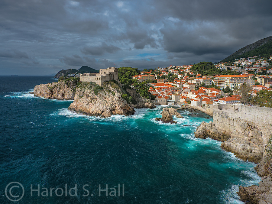 From the walled Old Town section of Dubrovnik, Croatia we have an unobstructed view of Fort Lovrijenac.  This is the site of the TV series Game of Thrones.