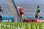 Darran O'Sullivan Glenbeigh Glencar in action against Ciaran Gourle Rock Saint Patricks in the Junior Football All Ireland Final in Croke Park on Sunday.