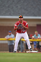 Batavia Muckdogs first baseman Eric Gutierrez (43) waits for a throw during a game against the Brooklyn Cyclones on July 4, 2016 at Dwyer Stadium in Batavia, New York.  Brooklyn defeated Batavia 5-1.  (Mike Janes/Four Seam Images)