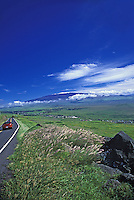 Heading towards snow capped Mauna kea, Big Island, Hawaii