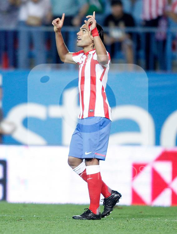 Atletico de Madrid's Radamel Falcao celebrates during UEFA Europa League Match. September 15, 2011. (ALTERPHOTOS/Alvaro Hernandez)