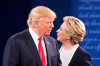ST LOUIS, MO - OCTOBER 09: Republican presidential nominee Donald Trump and Democratic presidential nominee former Secretary of State Hillary Clinton during the town hall debate at Washington University on October 9, 2016 in St Louis, Missouri. This is the second of three presidential debates scheduled prior to the November 8th election.