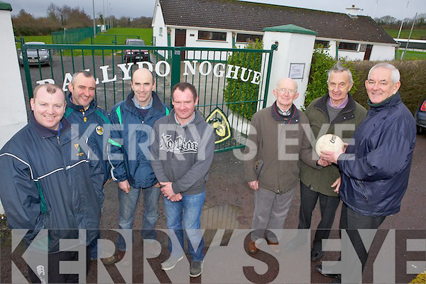 REUNION TIME: Preparing for the reunion of the Ballydonoghue Juniors who won the North Kerry Championship in 1991, l-r: John Houlihan, Pat Keane, Pat O'Donnell, Martin Scanlon (team members of 1991), John Joe O'Donnell (Selector 1991), Gerald Fitzgerald (Chairman 1991), Michael Flavin (Secretary 1991)