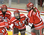 Alley Bero (SLU - 9), Michelle Ng (SLU - 3), Brooke Fernandez (SLU - 10) - The Boston College Eagles defeated the visiting St. Lawrence University Saints 6-3 (EN) in their NCAA Quarterfinal match on Saturday, March 10, 2012, at Kelley Rink in Conte Forum in Chestnut Hill, Massachusetts.