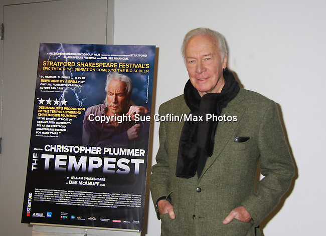 "Christopher Plummer starring in the US Theatrical Premiere Screening of ""The Tempest"" on November 6, 2011 at Symphony Space's Peter Jay Sharp Theatre, New York City, New York. Producers Barry Avrich and Des McAnuff (who is also Artistic Director of the Stratford Shakespeare Festival where the film was shot) were at the Q&A after the screening.  (Photo by Sue Coflin/Max Photos)"