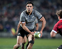 Anton Lienert-Brown passes during the Game of Three Halves between the NZ All Blacks and Canterbury at AMI Stadium in Christchurch, New Zealand on Friday, 10 August 2018. Photo: Martin Hunter / lintottphoto.co.nzz
