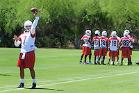 Jun 9, 2008; Tempe, AZ, USA; Arizona Cardinals quarterback Matt Leinart throws during mini camp at the Cardinals practice facility. Mandatory Credit: Mark J. Rebilas-