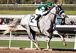 ARCADIA, CA: #2 Gift Box and jockey Joel Rosario win the Grade II San Antonio Stakes at Santa Anita Park in Arcadia, California on December 28, 2019.
