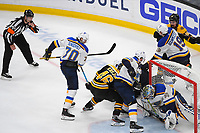June 6, 2019: St. Louis Blues goaltender Jordan Binnington (50) stops the puck at the goal line during game 5 of the NHL Stanley Cup Finals between the St Louis Blues and the Boston Bruins held at TD Garden, in Boston, Mass. The Blues defeat the Bruins 2-1 in regulation time. Eric Canha/CSM