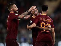 Calcio, Serie A: Roma, stadio Olimpico, 14 maggio 2017.<br /> AS Roma's Stephan El Shaarawy (r) celebrates after scoring with his teammates Emerson Palmieri (c) and Daniele De Rossi (l) during the Italian Serie A football match between AS Roma and Juventus at Rome's Olympic stadium, May 14, 2017.<br /> UPDATE IMAGES PRESS/Isabella Bonotto