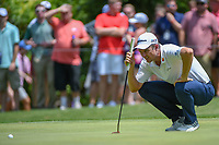 Justin Rose (GBR) lines up his birdie putt on 8 during round 4 of the Fort Worth Invitational, The Colonial, at Fort Worth, Texas, USA. 5/27/2018.<br /> Picture: Golffile | Ken Murray<br /> <br /> All photo usage must carry mandatory copyright credit (© Golffile | Ken Murray)