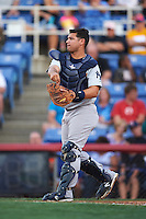 Trenton Thunder catcher Eddy Rodriguez (19) during a game against the Binghamton Mets on August 8, 2015 at NYSEG Stadium in Binghamton, New York.  Trenton defeated Binghamton 4-2.  (Mike Janes/Four Seam Images)