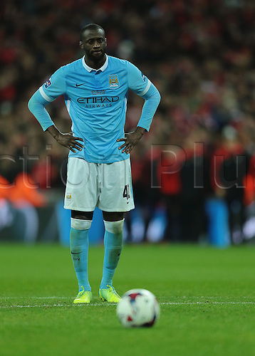 28.02.2016. Wembley Stadium, London, England. Capital One Cup Final. Manchester City versus Liverpool. Manchester City Midfielder Yaya Touré prepares to take the last  penalty, and scores past Mignolet to win the shoot out and trophy for Manchester City