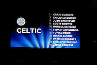 Celtic line up is displayed pre match during the UEFA Champions League GROUP match between Manchester City and Celtic at the Etihad Stadium, Manchester, England on 6 December 2016. Photo by Andy Rowland.
