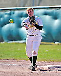 15 April 2009: University of Vermont Catamount infielder Tasha Manning, a Freshman from Ellsworth, ME, in action against the University at Albany Great Danes at Archie Post Field in Burlington, Vermont. The Great Danes swept the Catamounts 2-0 and 12-0 in the afternoon double-header. Mandatory Photo Credit: Ed Wolfstein Photo