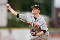 Hagerstown starting pitcher Jeff Mandel (32) fires the ball to the plate versus Kannapolis at Fieldcrest Cannon Stadium in Kannapolis, NC, Tuesday, August 14, 2007.