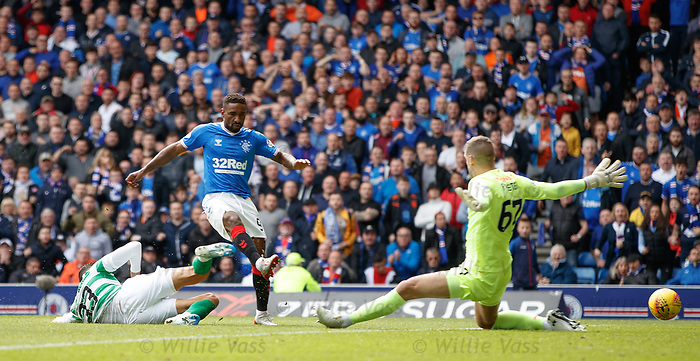 01.09.2019 Rangers v Celtic: Jermain Defoe has his shot saved by Fraser Forster
