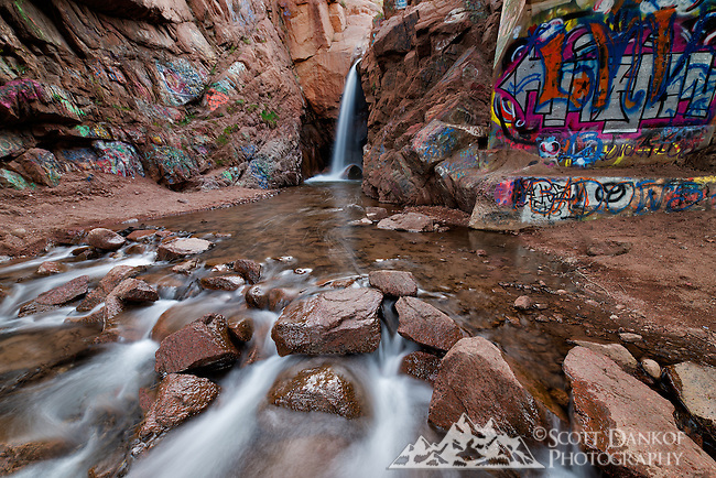 Rainbow Falls at Manitou Springs, Colorado. This was taken May of 2014. Unfortunately it's known for the large amount of graffiti painted on the canyon walls, though it's still a beautiful waterfall.