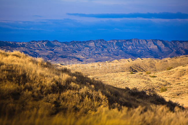 Hills and grassland in the Missouri River Breaks near Fort Peck Reservoir in Montana.