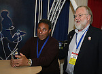 18 January 2008: Boston Breakers head coach Tony DiCicco and National Soccer Hall of Fame communication's director Jack Huckel at the Women's Professional Soccer exhibit. The 2008 National Soccer Coaches Association of America's annual convention was held at the Convention Center in Baltimore, Maryland.