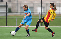 20191005  -  Diksmuide , BELGIUM : FWDM's Sarah Verschaeve  pictured  with KV Mechelen's Pure Eke during a footballgame between the womensoccer teams from Famkes Westhoek Diksmuide Merkem and KV Mechelen Ladies A , on the 5th matchday in the first division , 1e nationale , in Diksmuide - Belgium - saturday 5th october 2019 . PHOTO DAVID CATRY   Sportpix.be