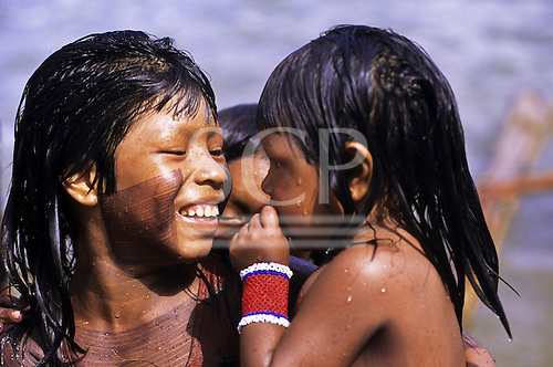 Bacaja village, Brazil. Indian girls in the river; Xicrin Indian tribe, Amazon.