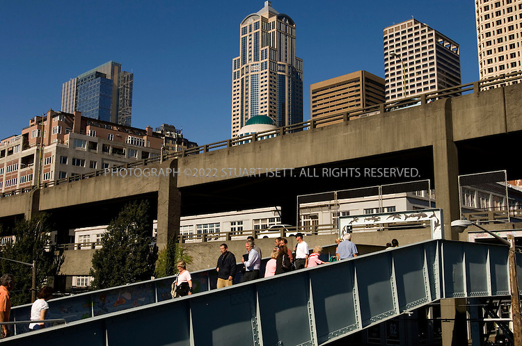 9/12/2006--Seattle, WA, USA..The double tiered Alaskan Highway Viaduct running along Seattle's waterfront. Originally built in the 1950s, the viaduct was damaged in the 2001 Nisqually earthquake. Three plans have been offered to replace the damaged road with a tunnel, with a new viaduct or to remove the road completely and restore Seattle's waterfront...Photograph By Stuart Isett.All photographs ©2006 Stuart Isett.All rights reserved.
