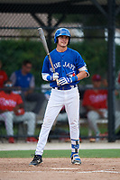 GCL Blue Jays third baseman Jordan Groshans (10) at bat during a game against the GCL Phillies West on August 7, 2018 at Bobby Mattick Complex in Dunedin, Florida.  GCL Blue Jays defeated GCL Phillies West 11-5.  (Mike Janes/Four Seam Images)