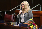 Nevada Assemblywoman Michele Fiore, R-Las Vegas, introduces a bill on the Assembly floor at the Legislative Building in Carson City, Nev., on Friday, Feb. 13, 2015. <br /> Photo by Cathleen Allison