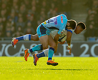 Castres David Smith is tackled by Exeter Chiefs' Santiago Cordero<br /> <br /> Photographer Bob Bradford/CameraSport<br /> <br /> European Rugby Heineken Champions Cup Pool 2 - Exeter Chiefs v Castres - Sunday 13th January 2019 - Sandy Park - Exeter<br /> <br /> World Copyright &copy; 2019 CameraSport. All rights reserved. 43 Linden Ave. Countesthorpe. Leicester. England. LE8 5PG - Tel: +44 (0) 116 277 4147 - admin@camerasport.com - www.camerasport.com